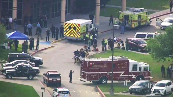 PHOTO: Emergency personnel and law enforcement officers respond to a high school near Houston after an active shooter was reported on campus, May 18, 2018, in Santa Fe, Texas. (KTRK-TV ABC13 via AP)