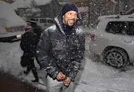 <p>The Oscar-winning artist gets caught in the snow on Jan. 23; he's in town to promote 'Burning Sands,' which he executive-produced. (Photo: Mat Hayward/GC Images) </p>