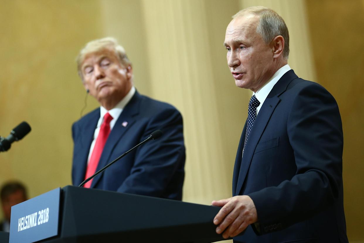 """<span class=""""s1"""">President Trump and Vladimir Putin at their joint news conference. (Photo: Valery Sharifulin\TASS via Getty Images)</span>"""