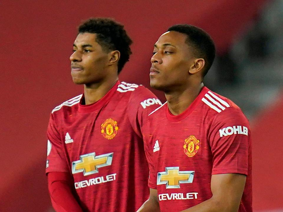 Anthony Martial (right) has struggled for goals this seasonPOOL/AFP via Getty Images