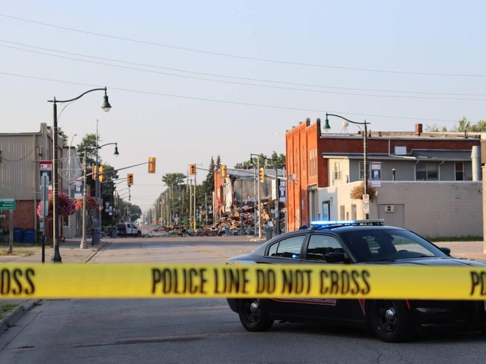 Hydrogen sulphide gas has again been detected in downtown Wheatley, Ont., which is shown here, two days after an explosion in August that has displaced dozens of residents and business owners,  (Jennifer La Grassa/CBC - image credit)