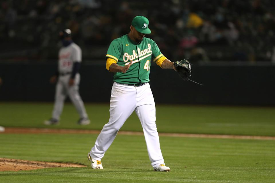 Oakland Athletics pitcher Frankie Montas reacts after the top of the sixth inning in Oakland, Calif., on Friday, April 16, 2021.