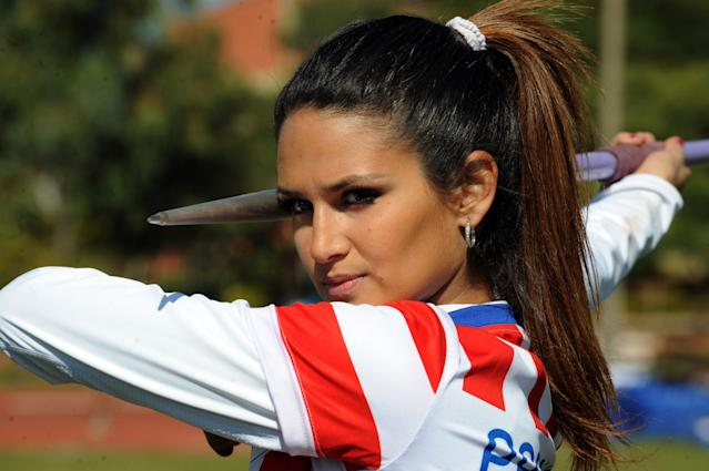 TO GO WITH AFP STORY BY HUGO RUIZ OLAZAR Leryn Franco, member of the Paraguayan olympic javelin team and model , takes part in a practice ahead of the London 2012 Olympic Games, in Asuncion on July 19, 2012. Franco's beauty was a media sensation during the Beijing 2008 Olympic Games. AFP PHOTO/Norberto DUARTENORBERTO DUARTE/AFP/GettyImages