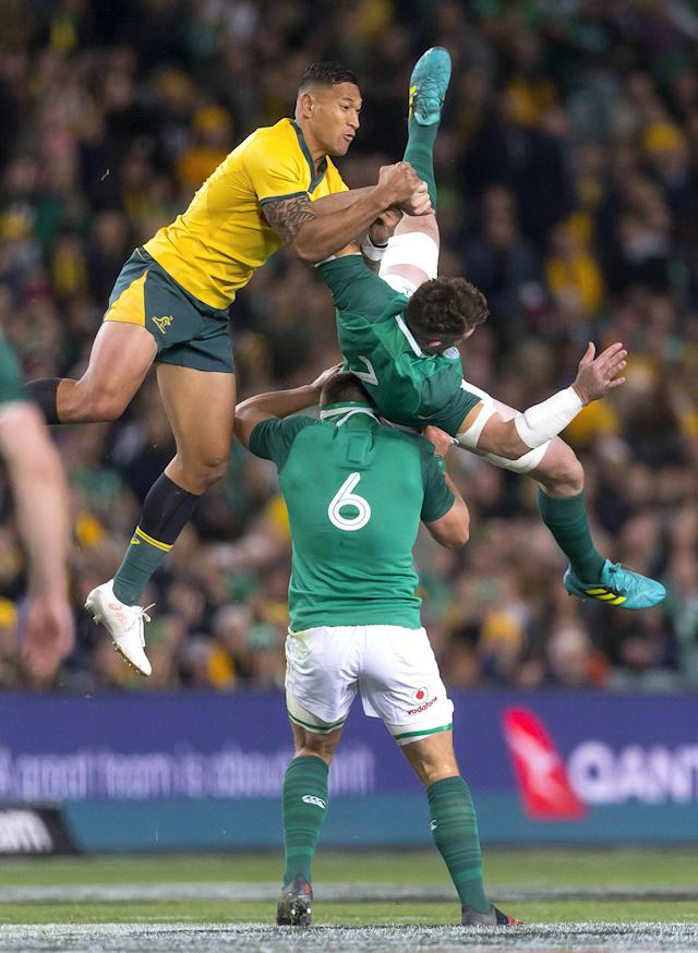 Rugby Union - June Internationals - Australia vs Ireland - Sydney Football Stadium, Sydney, Australia - June 23, 2018 - Israel Folau of Australia jumps for the ball with Peter O'Mahony of Ireland. AAP/Craig Golding/via REUTERS ATTENTION EDITORS - THIS IMAGE WAS PROVIDED BY A THIRD PARTY. NO RESALES. NO ARCHIVE. AUSTRALIA OUT. NEW ZEALAND OUT.