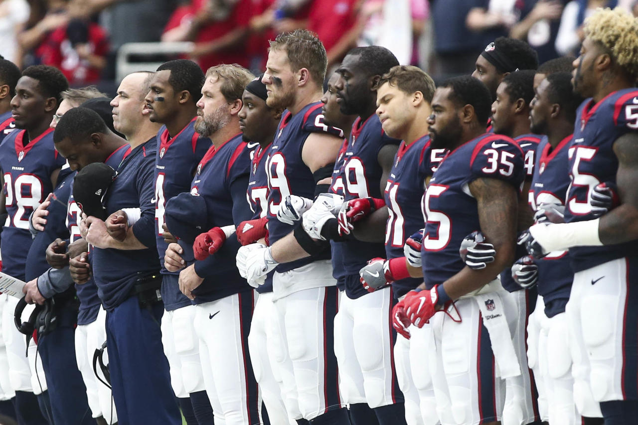 <p>Houston Texans players stand on the sideline during the national anthem before a game against the Tennessee Titans at NRG Stadium. Mandatory Credit: Troy Taormina-USA TODAY Sports </p>