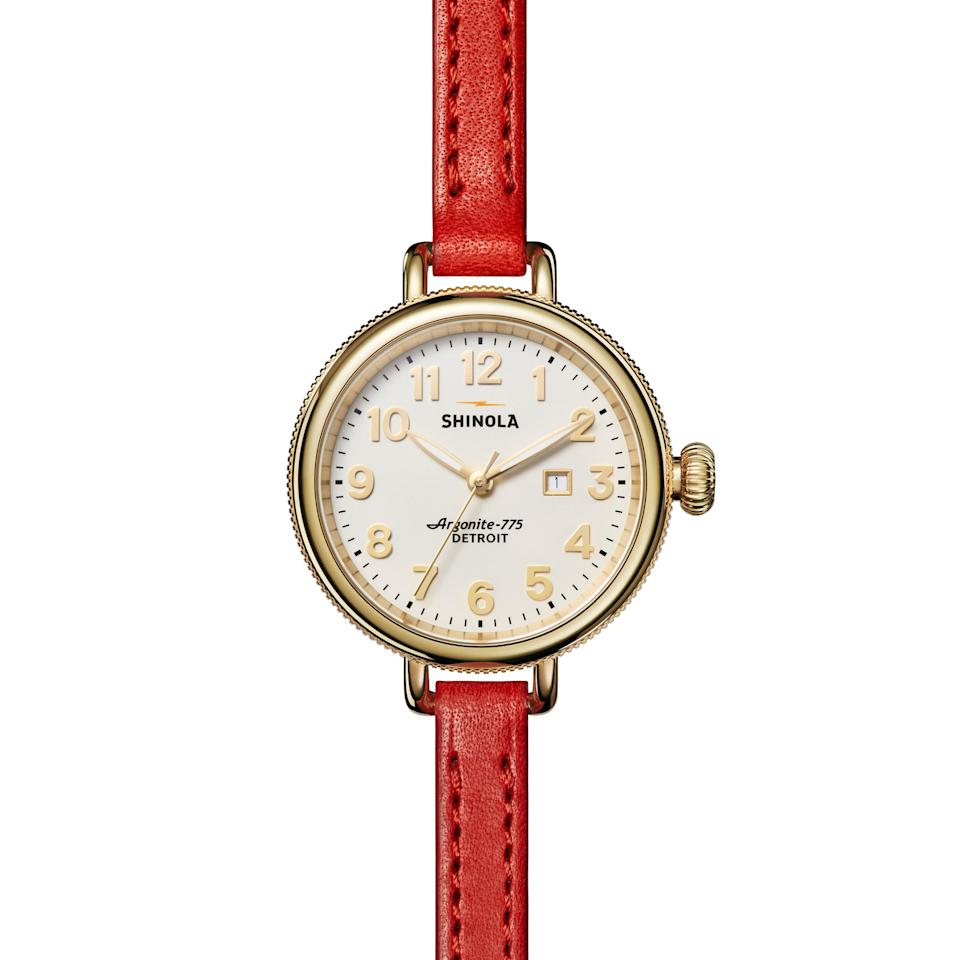 """Detroit-based Shinola is known for its leather goods and watches, and this piece combines both specialties. If red isn't your style, the Birdy comes in <a href=""""https://cna.st/affiliate-link/C8EegXATYdTipDRTjPMKDShXGW21K62CTuR3Rw3q8sMUhPTcn65mzGoq6haVmWbRFJj5LhA4uKjjmExhXSZmqxagLPVzbZNdTwG4TjQwPawhdTWK?cid=607f0c2f4b51cc3186d18844"""" rel=""""nofollow noopener"""" target=""""_blank"""" data-ylk=""""slk:countless different colors, bands, and faces"""" class=""""link rapid-noclick-resp"""">countless different colors, bands, and faces</a>. $547, Nordstrom. <a href=""""https://www.nordstrom.com/s/shinola-the-birdy-double-wrap-leather-strap-watch-34mm/5863845"""" rel=""""nofollow noopener"""" target=""""_blank"""" data-ylk=""""slk:Get it now!"""" class=""""link rapid-noclick-resp"""">Get it now!</a>"""