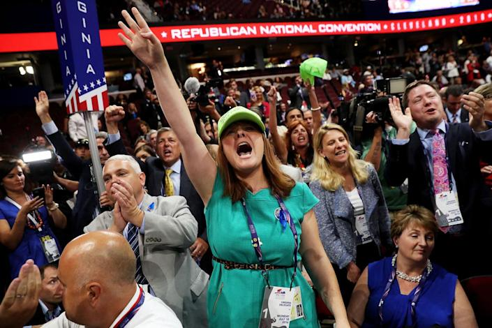 <p>Diana Shores from Farmville, VA © protests a roll call vote on the floor on the first day of the Republican National Convention on July 18, 2016 at the Quicken Loans Arena in Cleveland, Ohio. (John Moore/Getty Images)</p>