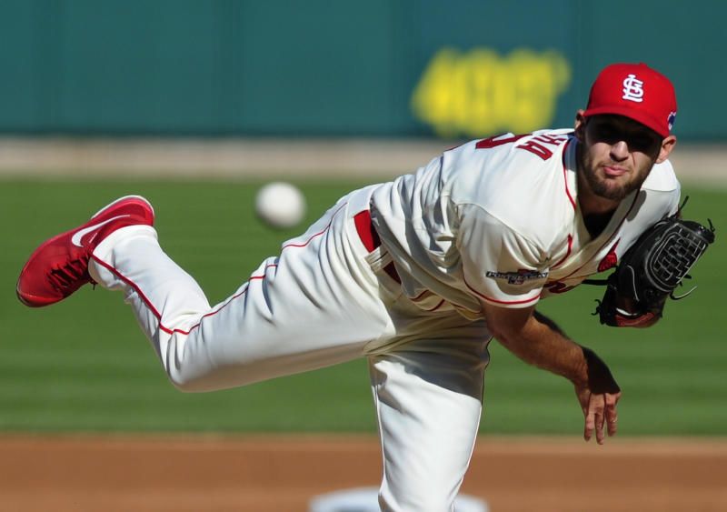 St. Louis Cardinals starting pitcher Michael Wacha throws during the first inning of Game 2 of the National League baseball championship series against the Los Angeles Dodgers Saturday, Oct. 12, 2013, in St. Louis. (AP Photo/Jeff Curry, Pool)