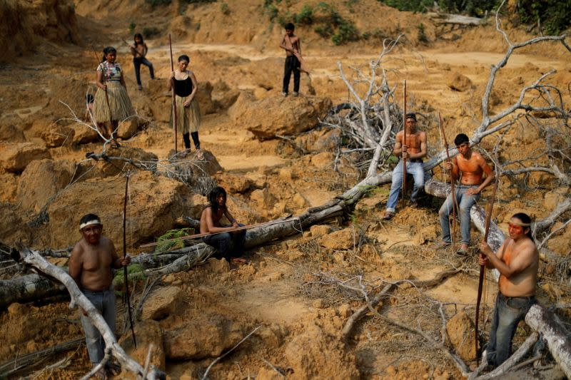 FILE PHOTO: Indigenous people from the Mura tribe show a deforested area in unmarked indigenous lands inside the Amazon rainforest near Humaita