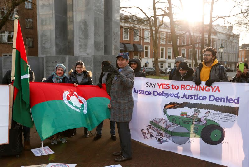 Protest outside the International Court of Justice in The Hague