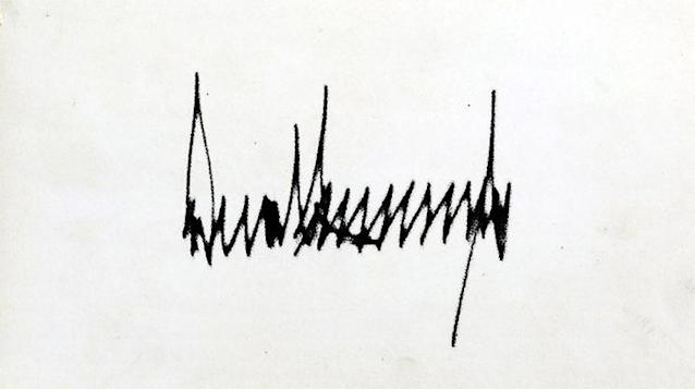 Donald Trump's presidential signature has sharp points and noticeable height. (Photo: CNN)
