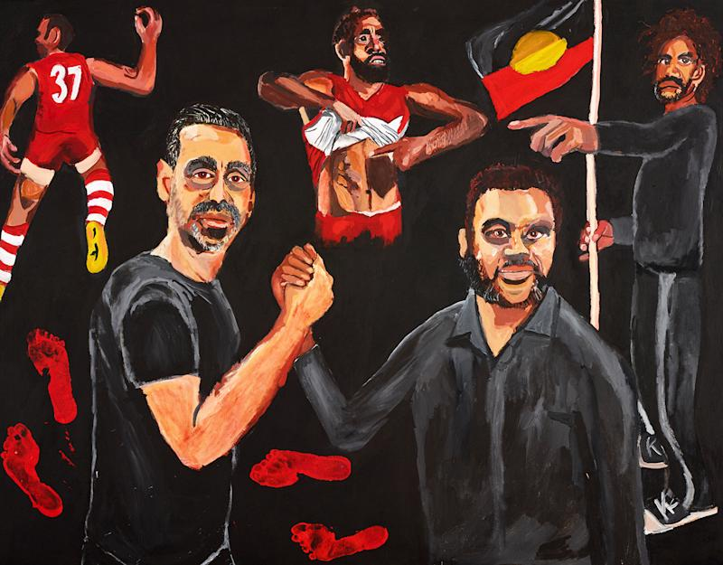 Vincent Namatjira's Archibald Prize winning portrait, pictured here featuring Adam Goodes.