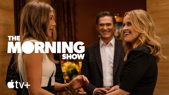 Jennifer Aniston and Reese Witherspoon reunite on The Morning Show & # x002013;  Season 2. Image via Apple TV +