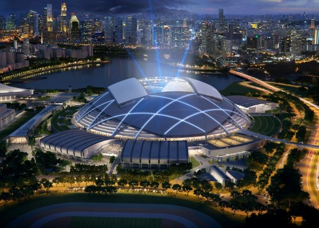 A view of the in-progress Singapore Sports Hub at night, another step in Singapore's attempts to enhance the sports scene. (Photo courtesy of ARUP)