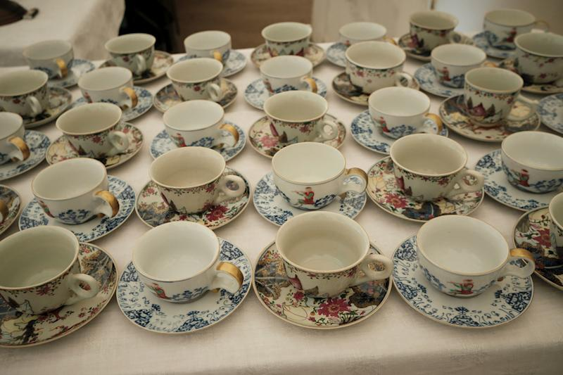 We sipped wild mint tea, gathered especially from the garden, from an assortment of de Gournay hand-painted tea cups.