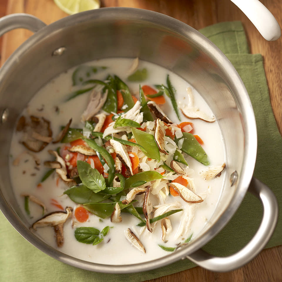 <p>The only pot you'll need for this quick and delicious Thai-inspired chicken soup is a Dutch oven. Everything is cooked in the same pot, which means after 30 minutes you'll be enjoying your soup and not worrying about a messy cleanup to follow!</p>