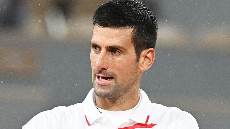 Novak Djokovic is pictured during his French Open match against Daniel Galan.