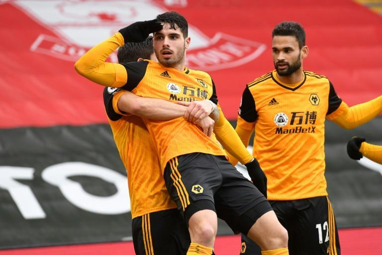 Pedro Neto (centre) scored the winner for Wolves at Southampton