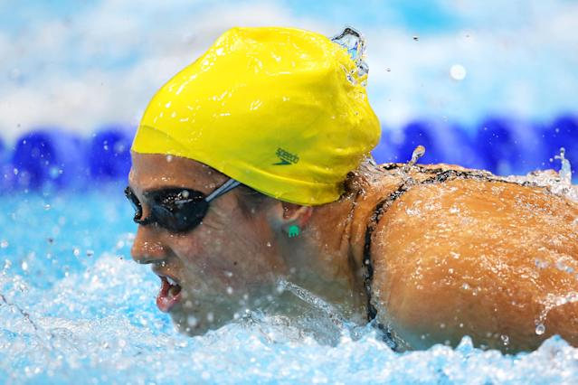 LONDON, ENGLAND - JULY 30: Stephanie Rice of Australia competes in the second semifinal heat of the Women's 200m Individual Medleyon Day 3 of the London 2012 Olympic Games at the Aquatics Centre on July 30, 2012 in London, England. (Photo by Clive Rose/Getty Images)