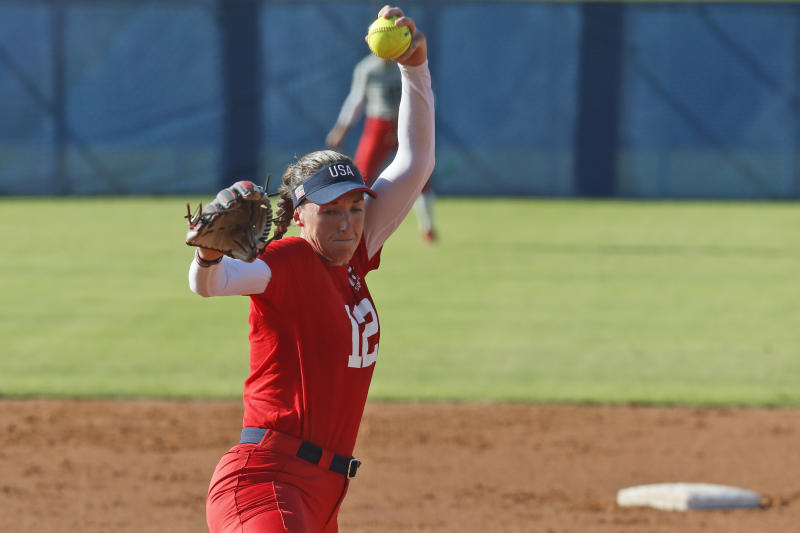 Pitcher Monica Abbott during a simulated game at the USA Softball Women's Olympic Team Selection Trials Wednesday, Oct. 2, 2019, in Oklahoma City. (AP Photo/Sue Ogrocki)