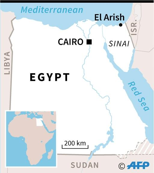 Map of Egypt locating El-Arish, near where seven police officers have been killed in a jihadist attack