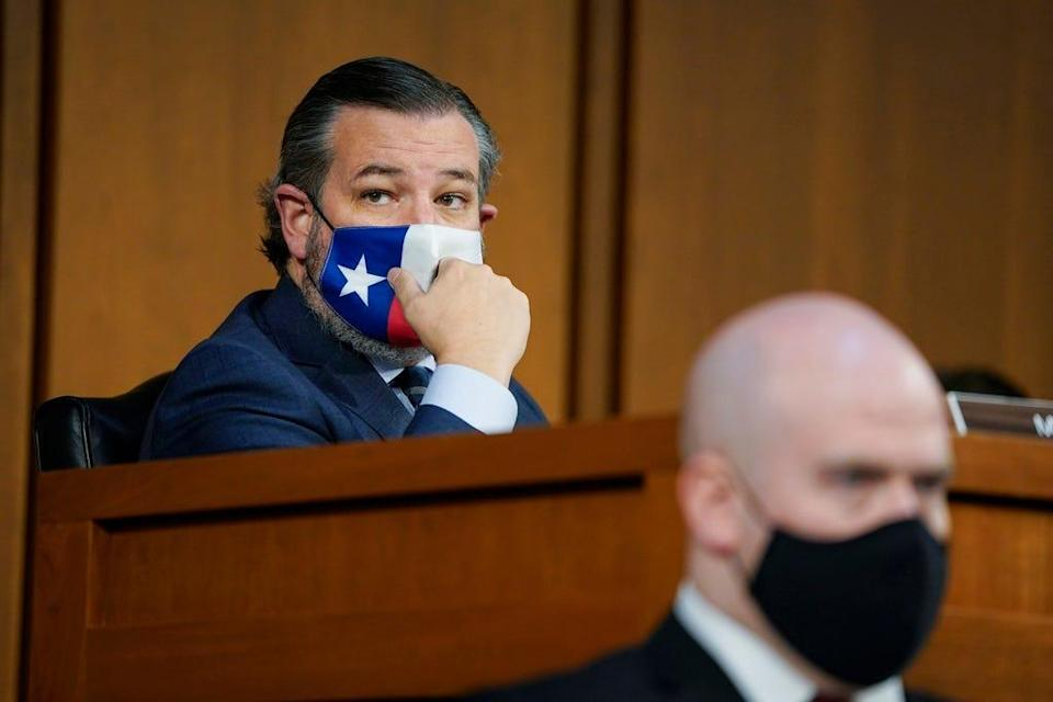 Sen. Ted Cruz, R-Texas, is seated prior to a Senate Judiciary Committee hearing on the nomination of Judge Merrick Garland to be U.S. Attorney General on Capitol Hill, Monday, Feb. 22, 2021 on Capitol Hill in Washington. in Washington.