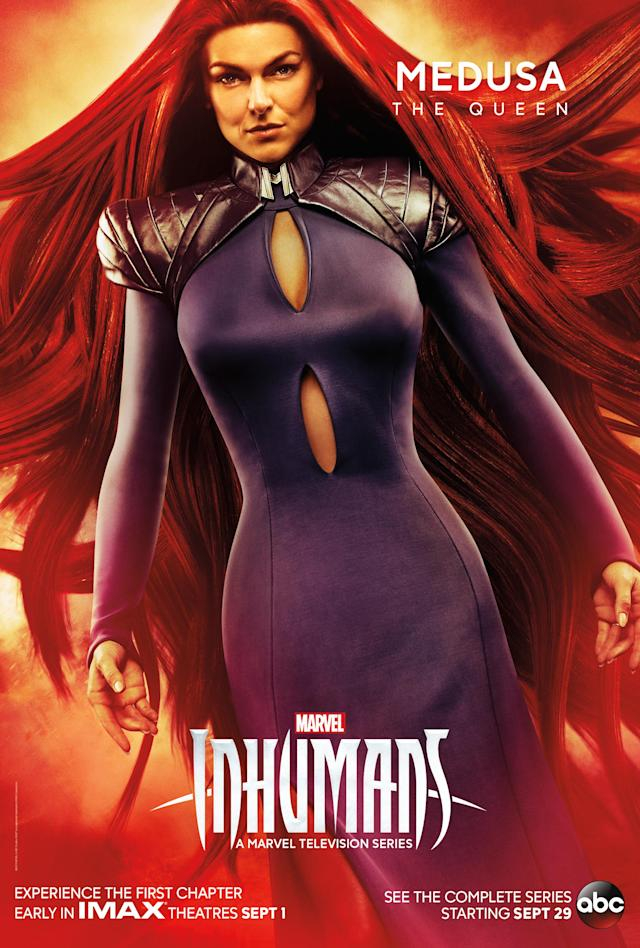 "<p>Though raised as royalty from birth, Medusa's role as queen and interpreter for Black Bolt, her husband, isn't quite what she expected. ""Through the course of the season,"" says show creator Scott Buck, ""we see her find her own strength and better decide what she wants to do and what she wants to be.""<br><br>(Photo: MARVEL) </p>"