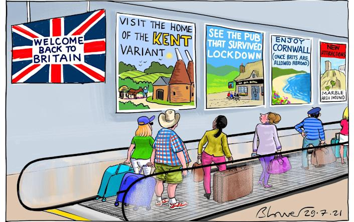 Cartoonist Blower's take on the news Britain is reopening to EU and US tourists - Blower