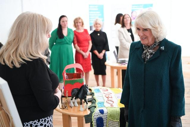 Camilla during her a solo visit to the Belfast & Lisburn Women's Aid. Tim Rooke/PA Wire