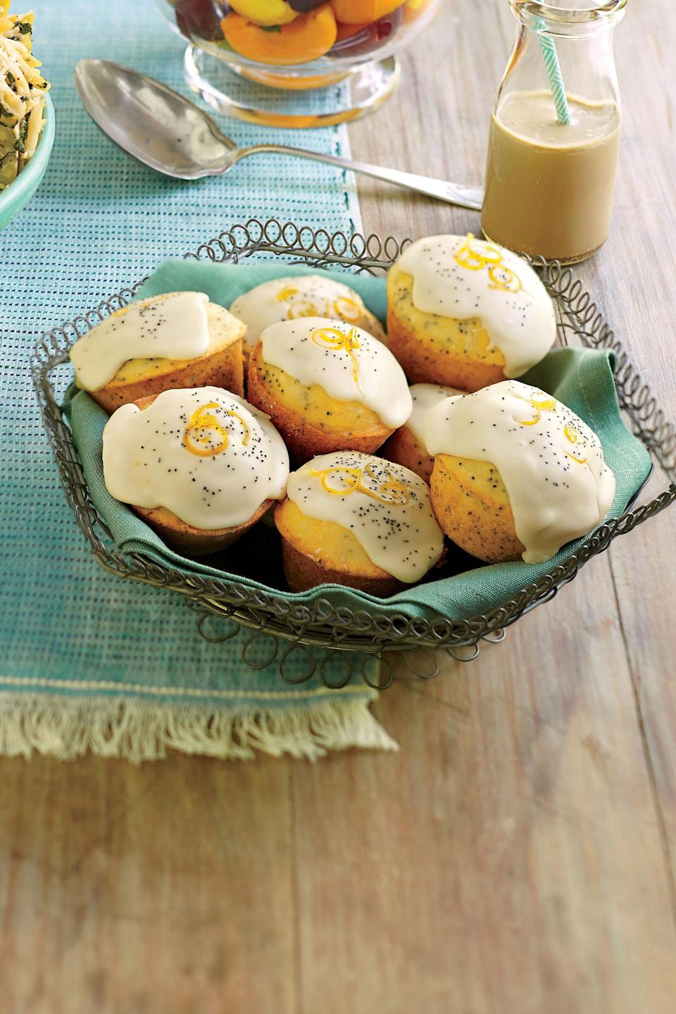 """<p><strong>Recipe:</strong> <a href=""""http://www.myrecipes.com/recipe/poppy-seed-ginger-muffins-50400000130101/"""" rel=""""nofollow noopener"""" target=""""_blank"""" data-ylk=""""slk:Poppy Seed-Ginger Muffins"""" class=""""link rapid-noclick-resp""""><strong>Poppy Seed-Ginger Muffins</strong></a></p> <p>To thin the glaze, add more orange juice.</p>"""