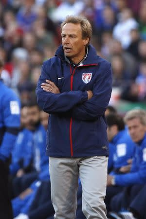 U.S. head coach Juergen Klinsmann reacts at the sideline during an international friendly soccer match against Azerbaijan in San Francisco, California May 27, 2014. REUTERS/Stephen Lam