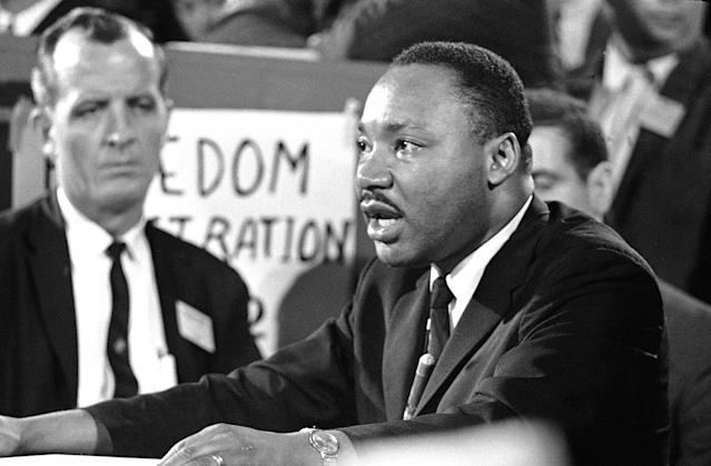 <p>Dr. Martin Luther King speaks before the credentials committee of the Democratic National Convention in Atlantic City on Aug. 22, 1964, in efforts to win accreditation for the group as Mississippiís delegation to the convention. (AP Photo) </p>