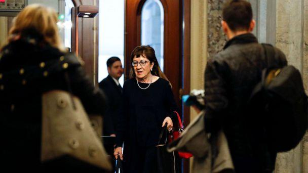 PHOTO: Republican Sen. Susan Collins, of Maine, arrives at the Capitol in Washington during the impeachment trial of President Donald Trump on charges of abuse of power and obstruction of Congress, Jan. 24, 2020. (Julio Cortez/AP)