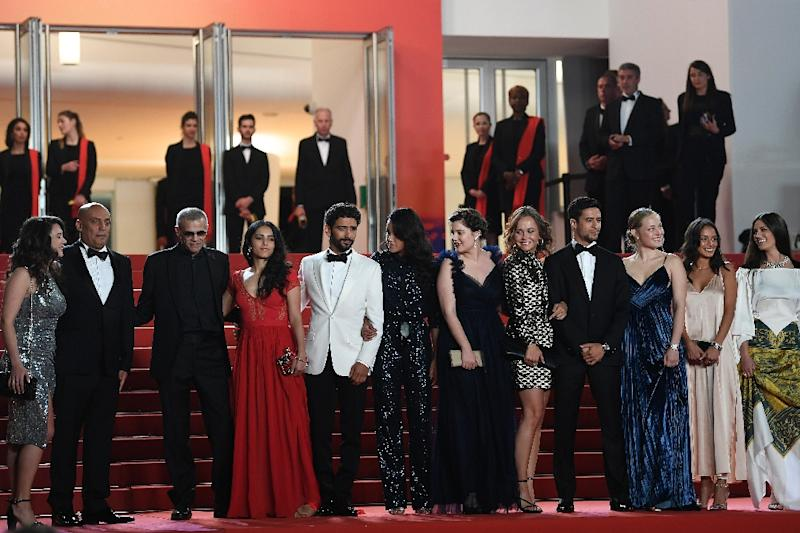 Questions have been raised whether the latest film from French-Tunisian director Abdellatif Kechiche (3rd left) will ever be released (AFP Photo/CHRISTOPHE SIMON)