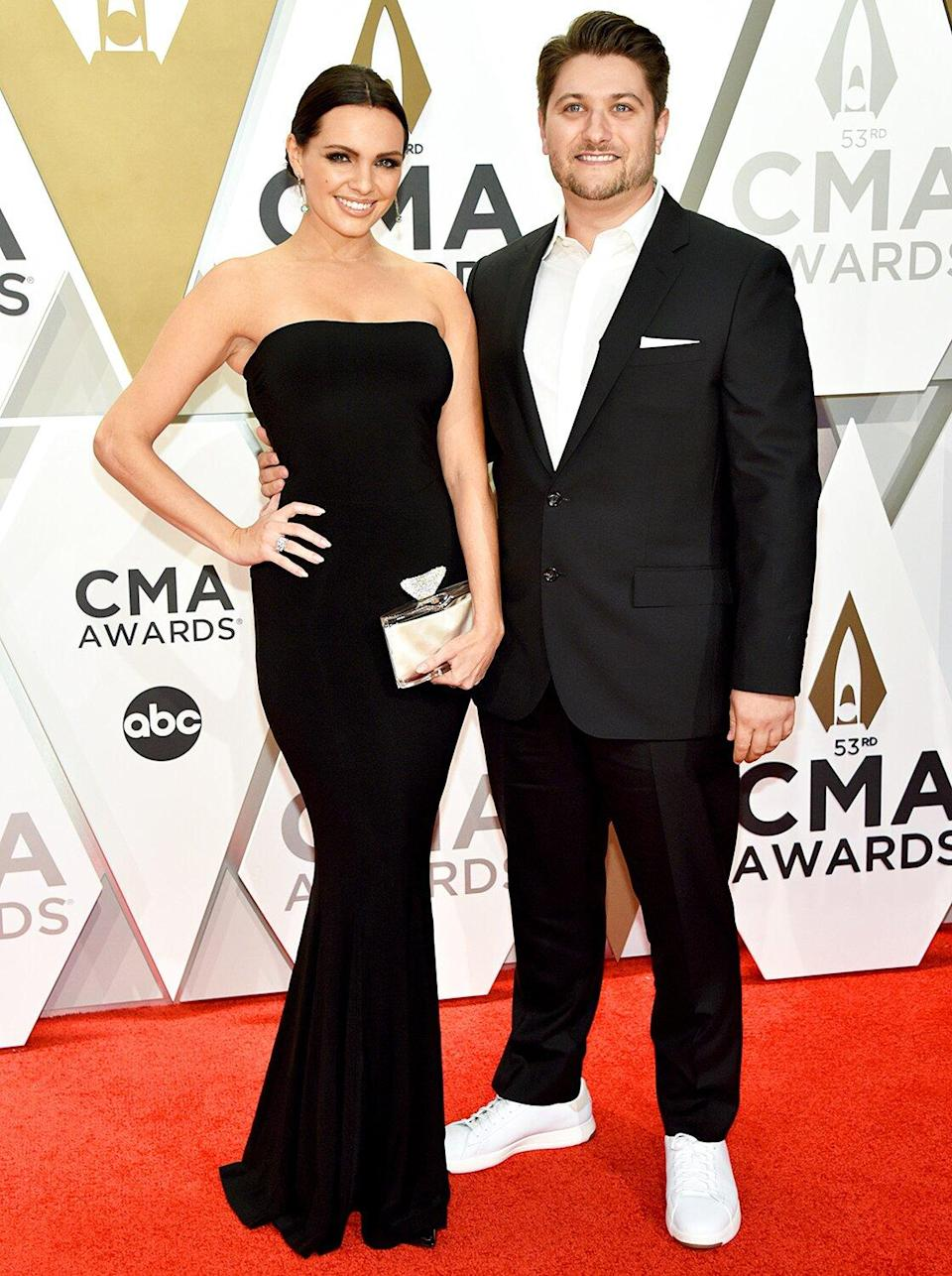 Renee Blair and Jordan Schmidt attend the 53rd annual CMA Awards at the Music City Center on November 13, 2019 in Nashville, Tennessee.