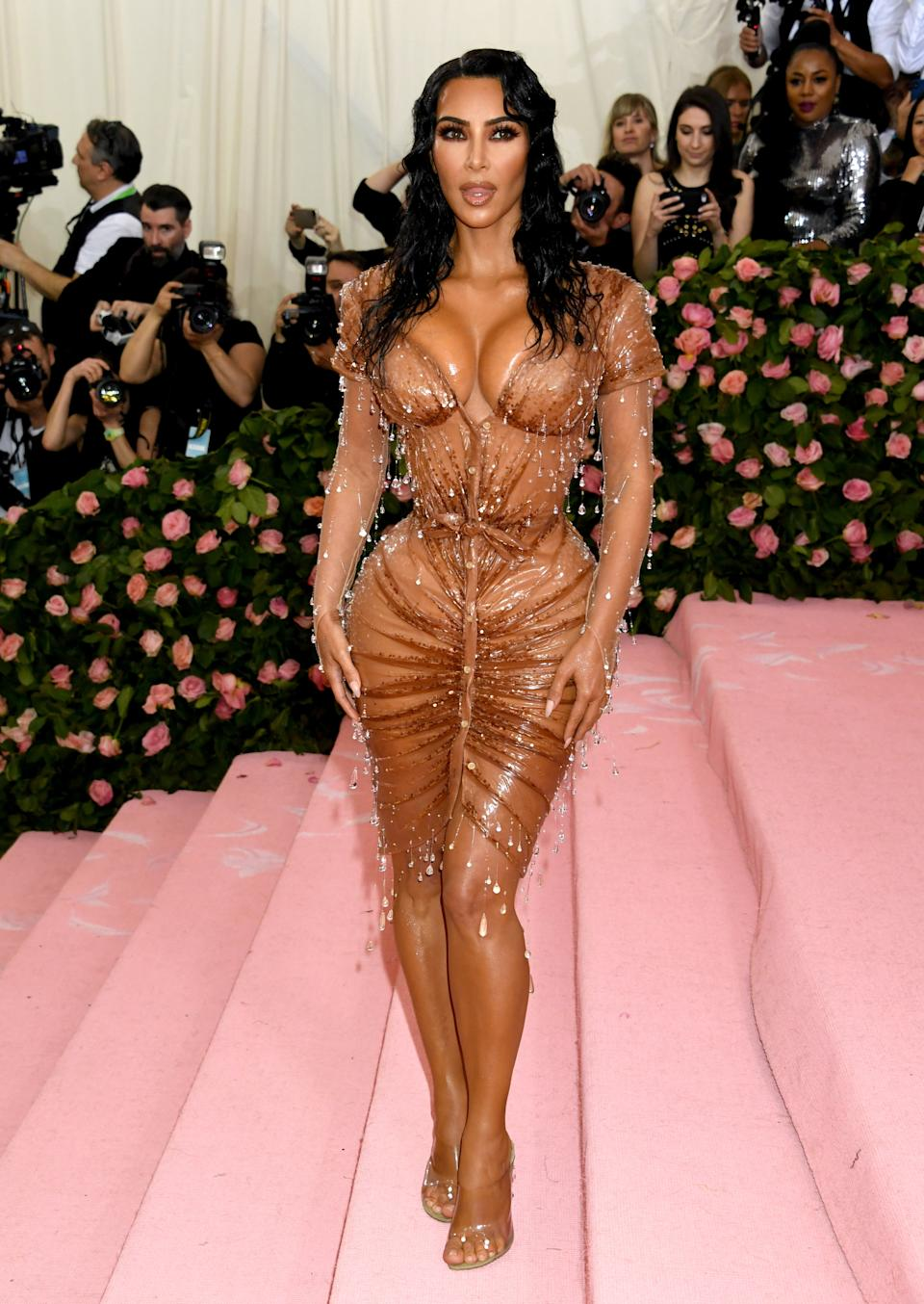 """Kim Kardashian experienced the """"worst pain of her life"""" in the Mr Pearl corset [Photo: PA]"""