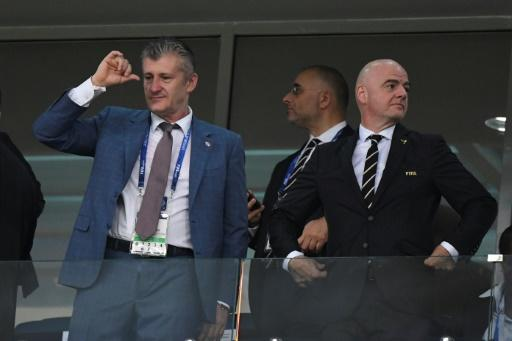 Croatian football federation president Davor Suker attended the win over Russia with FIFA President Gianni Infantino