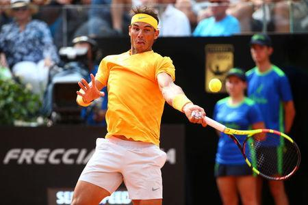 Tennis - ATP World Tour Masters 1000 - Italian Open - Foro Italico, Rome, Italy - May 20, 2018 Spain's Rafael Nadal in action during the final against Germany's Alexander Zverev REUTERS/Tony Gentile