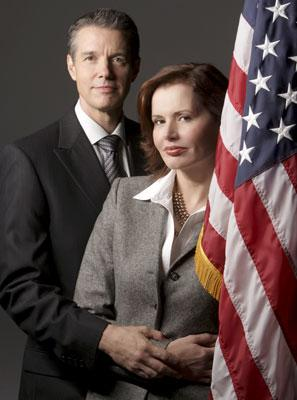 """Kyle Secor and Geena Davis ABC's Commander In Chief <a href=""""/baselineshow/4790385"""">Commander-in-Chief</a>"""