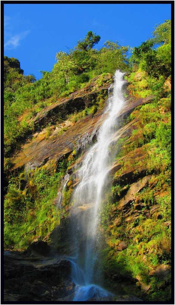 "The Chhangey Falls in Kaluk, Sikkim is located 10 km from Peling on the road to Dentam. The waterfall plunges from a great height and loses itself in the dense forests. Only 4-wheel drives can approach the road from where this waterfall can be viewed.<br><br>By <a href=""https://www.flickr.com/photos/90137095@N04/"" rel=""nofollow noopener"" target=""_blank"" data-ylk=""slk:ssanchari"" class=""link rapid-noclick-resp"">ssanchari</a>"