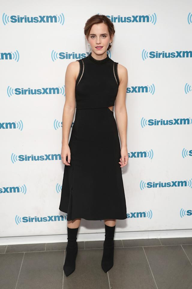 <p>Emma wore a dress with a sneaky cut-out during an appearance on SiriusXM. <em>[Photo: Getty]</em> </p>