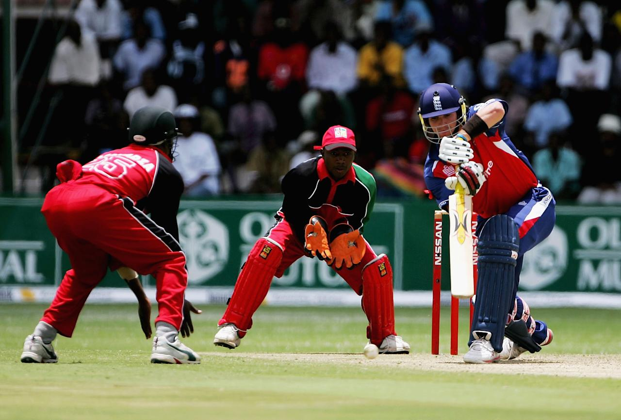 HARARE, ZIMBABWE - DECEMBER 1: Kevin Pietersen of England in action during the 2nd One Day International against Zimbabwe at the Harare Sports Club ground on December 1, 2004 in Harare, Zimbabwe. (Photo by Clive Rose/Getty Images)