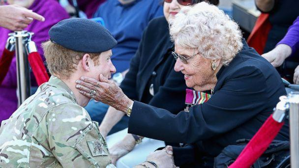 PHOTO: Prince Harry meets Daphne Dunne outside the Sydney Opera House in this May 7, 2015 file photo in Sydney. (Chris Jackson/Getty Images)