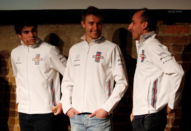 F1 Formula One - Williams Formula One Launch - London, Britain - February 15, 2018 Williams' Driver Lance Stroll, Driver Sergey Sirotkin and Reserve and Development Driver Robert Kubica during the launch Action Images via Reuters/Paul Childs