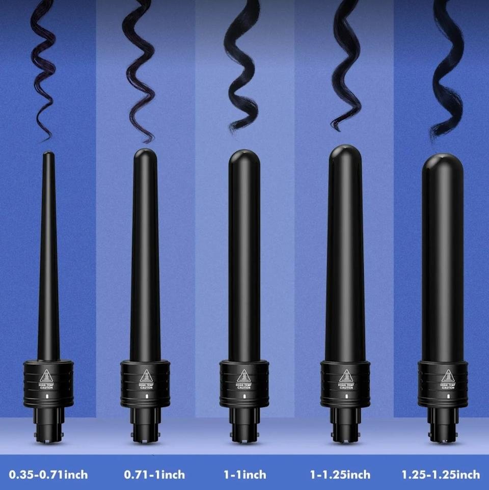 "You'll get five different-sized, interchangeable barrels to help you create blowout-status curls and waves and save you a trip to the hair salon. <br /><br />It comes with a 0.35-0.71 inch, 0.71-1 inch, 1-1 inch, 1-1.25 inch, and 1.25-1.25 inch ceramic curling barrels. <br /><br /><strong>Promising review:</strong> ""I bought this product for my girlfriend as a gift and she absolutely loves it! She used to only have a crimper but now that she has this wand set to curl her hair, she can do so many more styles. <strong>The different sizes of wands give for a wonderful variety of sizes to the curls that you want and they are very easy to interchange, which is a big plus in my eyes.</strong> I have had face razors that have interchangeable heads, I know not the same thing, and they can get stuck or have trouble clicking into place, but not with this. You do not have to worry about that at all, just line up the groves, twist the top into place, and bam you're done."" — <a href=""https://www.amazon.com/Homitt-Curling-Interchangeable-Ceramic-Protective/dp/B01IT0IIQK?&linkCode=ll1&tag=huffpost-bfsyndication-20&linkId=607851e43907676dacc36c823aa8130c&language=en_US&ref_=as_li_ss_tl"" target=""_blank"" rel=""noopener noreferrer"" data-a-size=""small"">Hayden Bullard</a><a href=""https://www.amazon.com/gp/customer-reviews/R391IM14UPF3A0?tag=bfkayla-20&ascsubtag=5906615%2C9%2C35%2Cd%2C0%2C0%2Cgoogle%2C962%3A1%3B901%3A2%3B900%3A2%3B974%3A2%3B975%3A2%3B982%3A2%2C16562662%2C0"" target=""_blank"" rel=""nofollow noopener noreferrer"" data-skimlinks-tracking=""5906615"" data-vars-affiliate=""Amazon"" data-vars-href=""https://www.amazon.com/gp/customer-reviews/R391IM14UPF3A0?tag=bfkayla-20&ascsubtag=5906615%2C9%2C35%2Cmobile_web%2C0%2C0%2C16562662"" data-vars-keywords=""cleaning,fast fashion"" data-vars-link-id=""16562662"" data-vars-price="""" data-vars-product-id=""20947017"" data-vars-product-img="""" data-vars-product-title="""" data-vars-retailers=""Amazon""><br /><br /></a><strong>Get it from Amazon for <a href=""https://www.amazon.com/Homitt-Curling-Interchangeable-Ceramic-Protective/dp/B01IT0IIQK?&linkCode=ll1&tag=huffpost-bfsyndication-20&linkId=607851e43907676dacc36c823aa8130c&language=en_US&ref_=as_li_ss_tl"" target=""_blank"" rel=""nofollow noopener noreferrer"" data-skimlinks-tracking=""5906615"" data-vars-affiliate=""Amazon"" data-vars-asin=""B01IT0IIQK"" data-vars-href=""https://www.amazon.com/dp/B01IT0IIQK?tag=bfkayla-20&ascsubtag=5906615%2C9%2C35%2Cmobile_web%2C0%2C0%2C16562665"" data-vars-keywords=""cleaning,fast fashion"" data-vars-link-id=""16562665"" data-vars-price="""" data-vars-product-id=""18072748"" data-vars-product-img=""https://m.media-amazon.com/images/I/41dGcj2wyJL.jpg"" data-vars-product-title=""Homitt ATMOKO by 5 in Curling Wand Set with 5 Interchangeable Hair Wand Curling Iron Ceramic Barrels and a Heat Protective Glove, Black (Pack of 5)"" data-vars-retailers=""Amazon"">$36.99</a>.</strong>"
