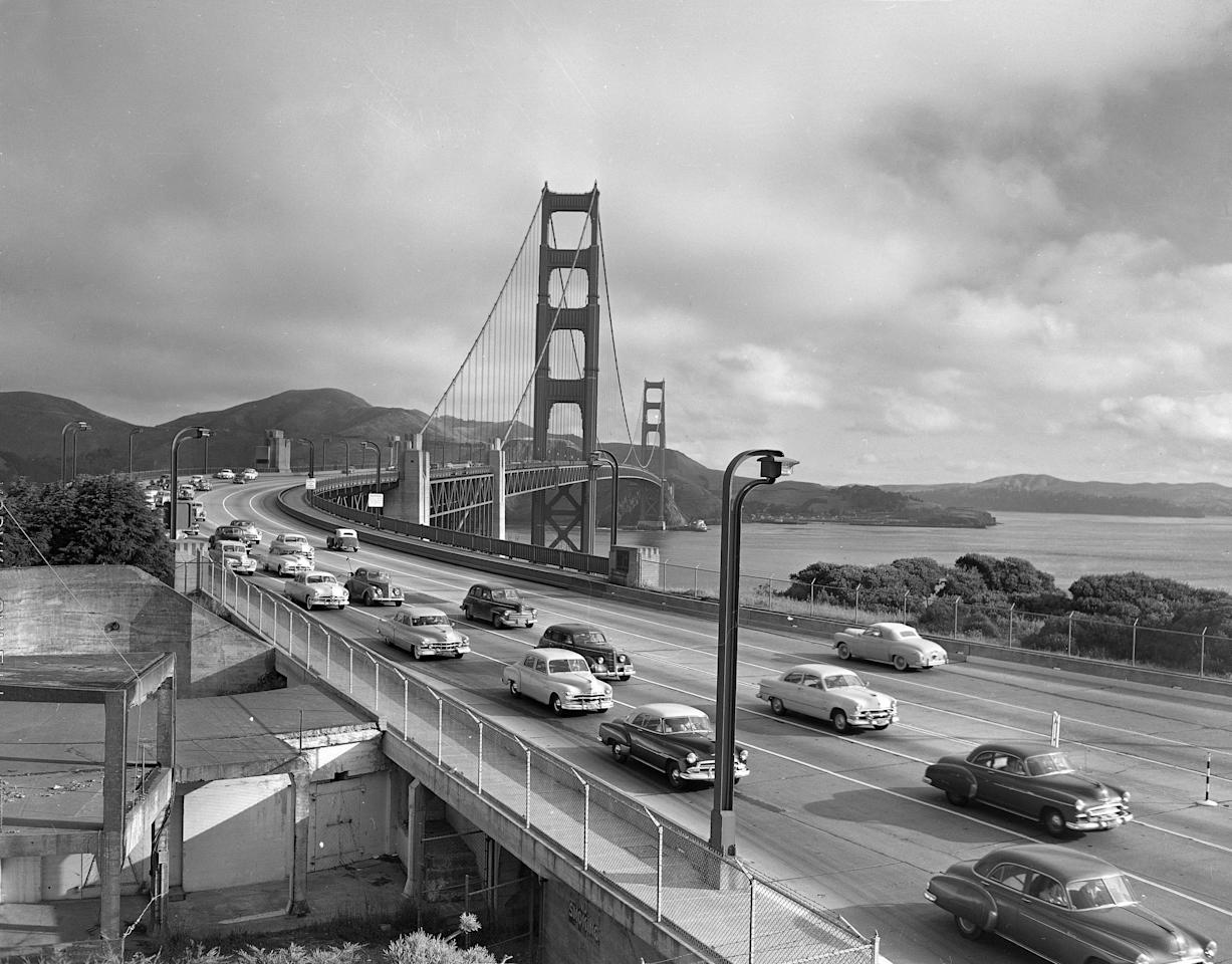 Motor traffic crosses the Golden Gate Bridge, Nov. 20, 1940, in San Francisco. (AP Photo)