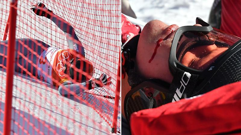 Russian skier crashes into fencing in 'spectacular fall'