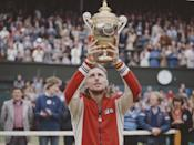 <p>Bjorn Borg holds the trophy aloft after defeating Jimmy Connors during the Men's Singles Final match in July 1978.</p>