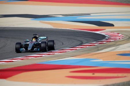 Formula One - F1 - Bahrain Grand Prix - Sakhir, Bahrain - 15/04/17 - Mercedes Formula One driver Lewis Hamilton of Britain drives during the third practice session. REUTERS/Hamad I Mohammed