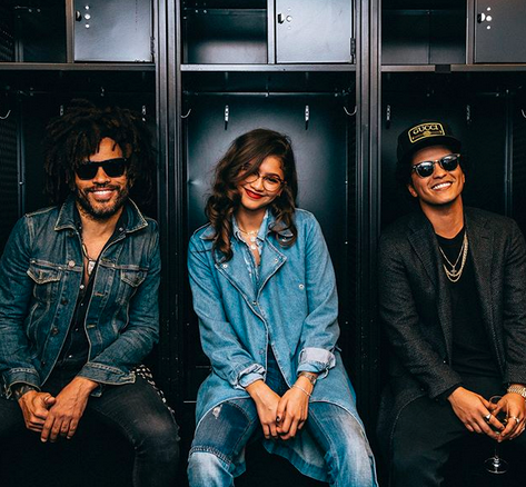 "<p>""New Band Alert!,"" the singer, who performed at Brooklyn""s Barclay's Center Wednesday night, posted this pic with some of his good pals. ""Lenny [Kravitz], Zendaya & Bruno. Together we are #LenZuno!"" (Photo: <a href=""https://www.instagram.com/p/BZ2nVMvB2dA/?taken-by=brunomars"" rel=""nofollow noopener"" target=""_blank"" data-ylk=""slk:Bruno Mars via Instagram"" class=""link rapid-noclick-resp"">Bruno Mars via Instagram</a>) </p>"